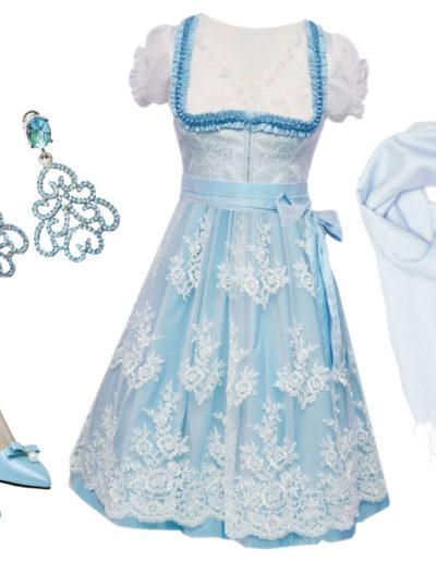 festliches Dirndl in Hellblau auch für die Hochzeit in Tracht