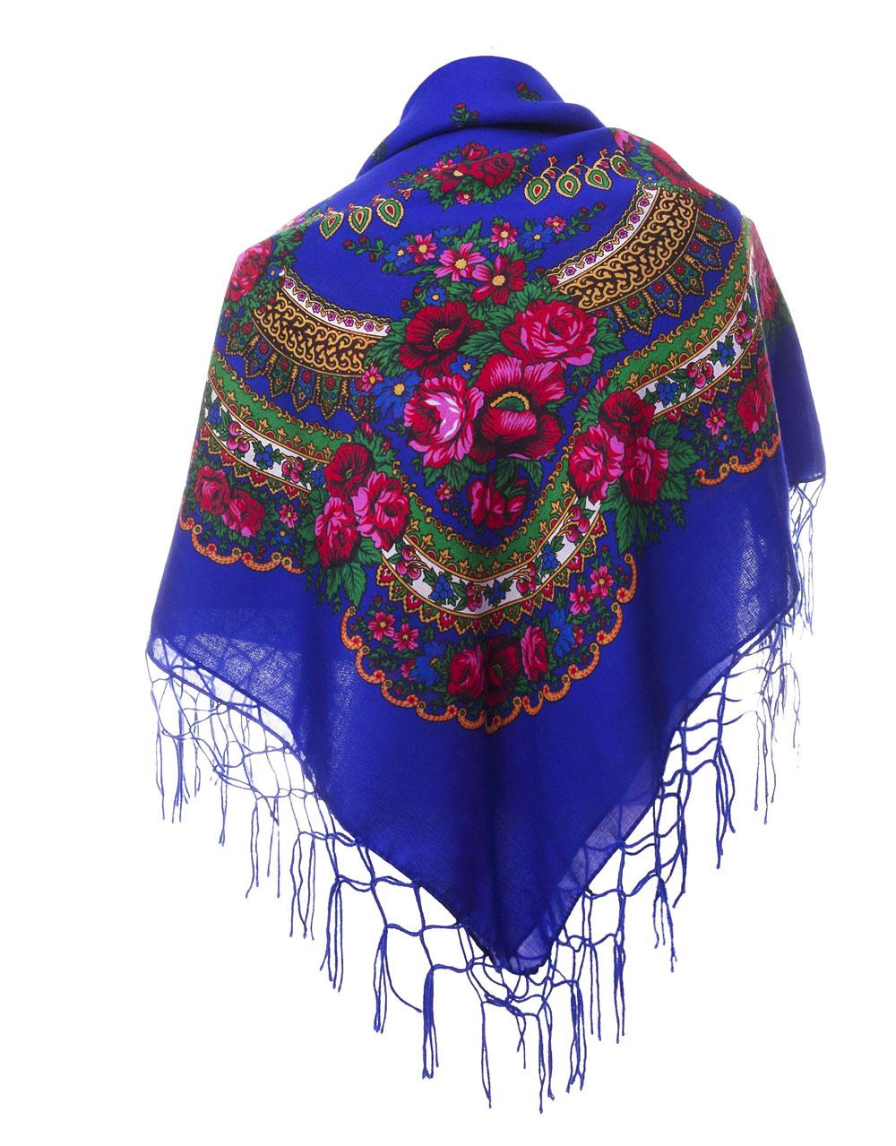 Folkloretuch blau